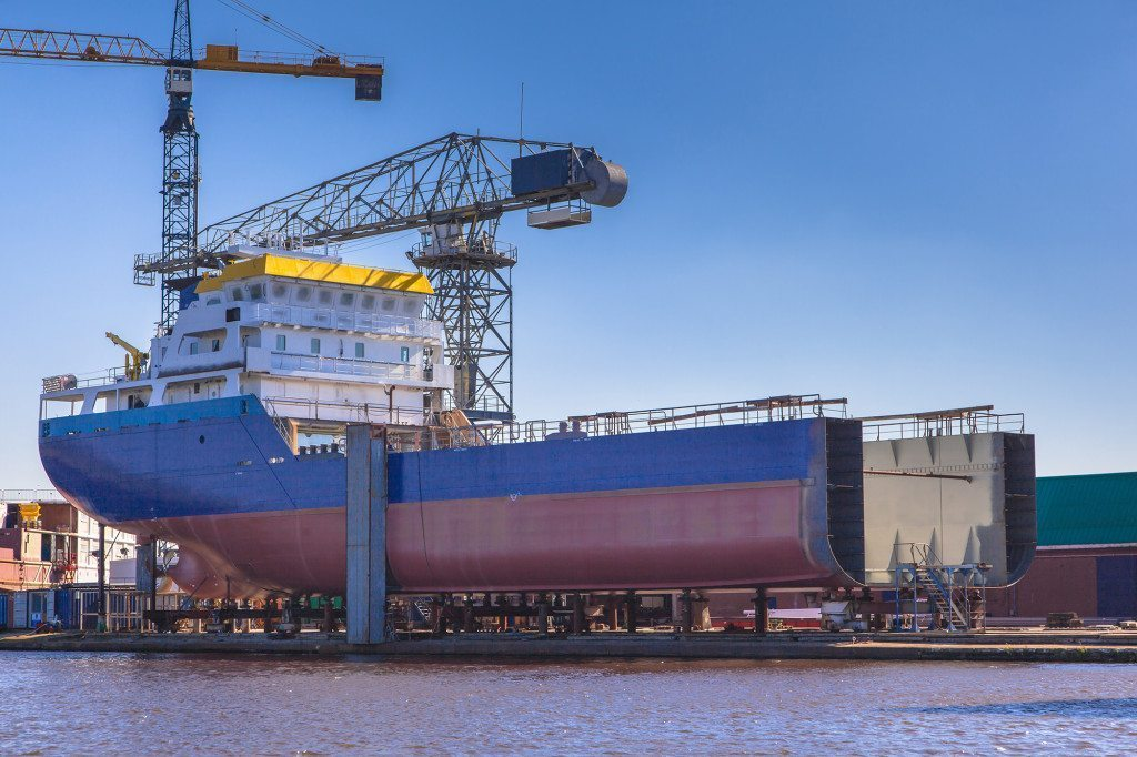 Ship Being Constructed on a Wharf in the Netherlands